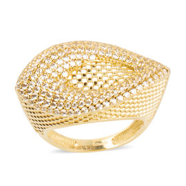 Ottoman Treasure 9K Yellow Gold Ring with AAA Natural Cambodian White Zircon 1.000 Ct, Gold wt.3.90