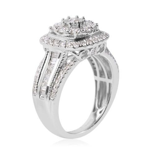 NY Close Out Deal- 14K White Gold Diamond (I1-I2/G-H) Ring 1.00 Ct, Gold wt 6.00 Gms