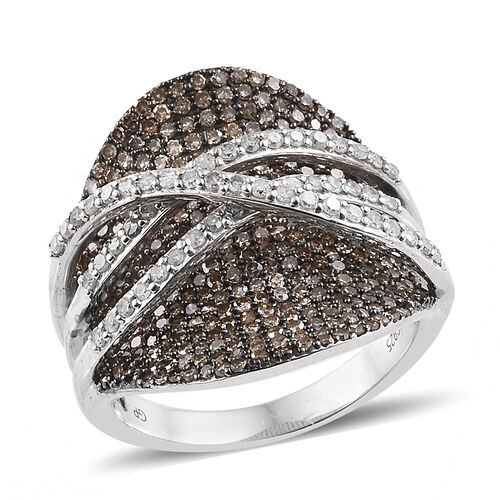 GP 2.03 Ct White and Champagne Diamond Cluster Ring in Platinum Plated Sterling Silver