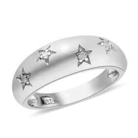 Diamond (Rnd) Star Dome Ring in Platinum Overlay Sterling Silver