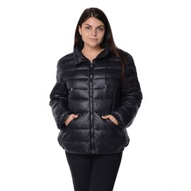 Black Colour Women Short Puffer Jacket with Two Pockets
