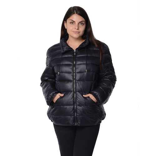 Solid Colour Women Short Puffer Jacket with Two Pockets (Size 58x68, XL) - Black