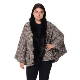 Soft Winter Free Size Kimono with Faux Fur Collar (L-85 Cm) - Black and Khaki Mix