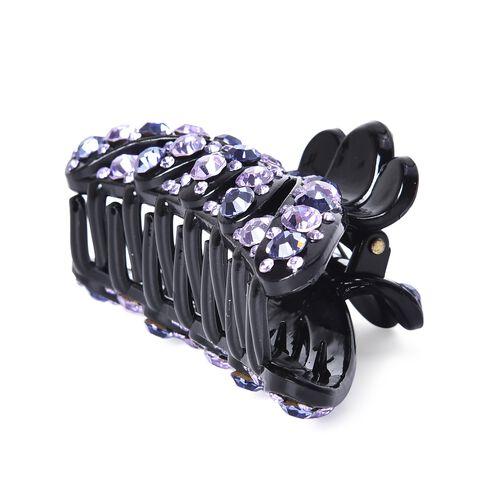 Crystal Studded Hair Claw Clip - Dark and Light Violet