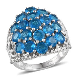 Neon Apatite (Rnd) Cluster Ring in Rhodium Overlay Sterling Silver 4.75 Ct.