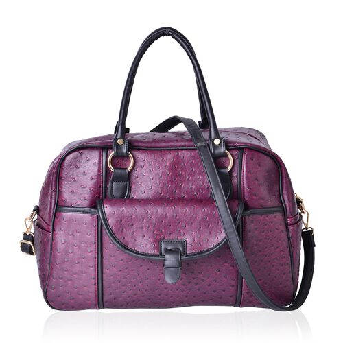 Burgundy Ostrich Pattern Weekend Bag with External Zipper Pocket and Removable Shoulder Strap (Size 42x26x17 Cm)