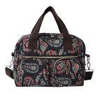 Paisley Pattern Satchel Bag with Zipper Closure and Detachable Shoulder Strap (Size 30x12x22cm) - Bl