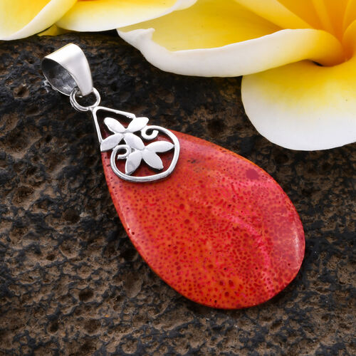 Royal Bali Collection - Sponge Coral Drop Pendant in Sterling Silver