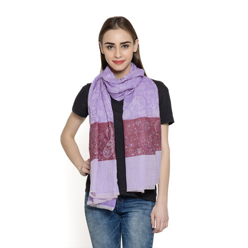 Limited Available - 88% Merino Wool and 12% Silk Lilac, Red and Multi Colour Shawl with Fringes (Siz
