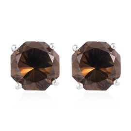 7 Carat Brazilian Smoky Quartz Solitaire Stud Earrings in Sterling Silver
