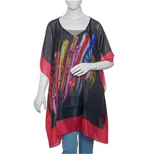 New Season- Black and Multi Colour Digital Printed Kaftan (Size 90x65 Cm)