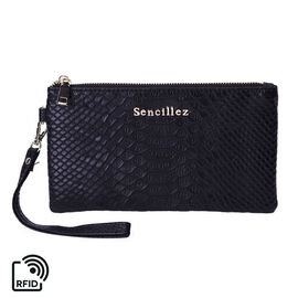 SENCILLEZ Genuine Leather RFID Protected Snake Skin Embossed Wristlet (19x11cm) - Black