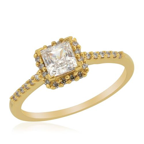 J Francis - 14K Gold Overlay Sterling Silver (Sqr) Ring Made with SWAROVSKI ZIRCONIA  0.712 Ct.