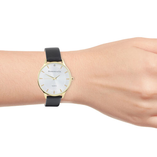 DIAMOND & CO LONDON- Diamond Studded Watch with Black Leather Strap - Gold Tone