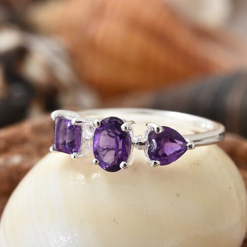 Amethyst (Ovl, Sqr and Hrt) Ring in Sterling Silver 1.500 Ct.
