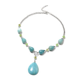 Multi Colour Amazonite and Simulated Peridot Necklace (Size - 18 + 2 inch Extender) in Silver Tone