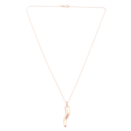 JCK Vegas Collection Rose Gold Overlay Sterling Silver Italian Horn Pendant with Chain