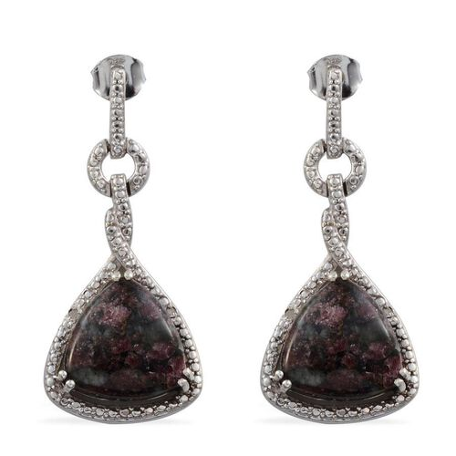 Natural Russian Eudialyte (Trl), Diamond Drop Earrings in Platinum Overlay Sterling Silver 10.800 Ct.