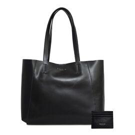 ASSOTS LONDON 2 Piece Set - ADELA Genuine Smooth Leather Tote Bag (31x9.5x26.5cm) & Matching RFID FANN Cardholder (10x8cm) - Black