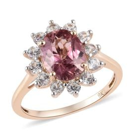 9K Yellow Gold AA Pink Tourmaline (Ovl 9x7mm), Natural Cambodian Zircon Ring 1.80 Ct.
