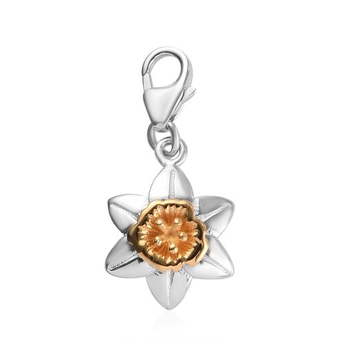 Daffodil March Birth Flower Charm in Platinum and Gold Plated Sterling Silver