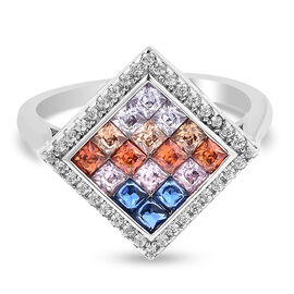Lustro Stella - Simulated Rainbow Sapphire Ring in Platinum Overlay Sterling Silver