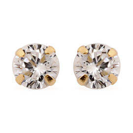 New York Close Out Deal- 9K Yellow Gold Cubic Zirconia (Rnd) Stud Earrings (with Push Back)
