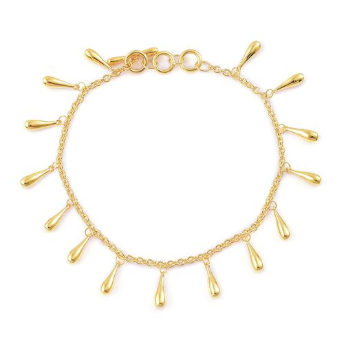 LucyQ Multi Drip Bracelet (Can be worn at Size 7 - 7.5 and 8) in Yellow Gold Overlay Sterling Silver, Silver wt 12.19 Gms.