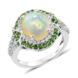 Rare Size Ethiopian Welo Opal (Ovl 3.50 Ct), Natural Cambodian Zircon and Russian Diopside Ring in P