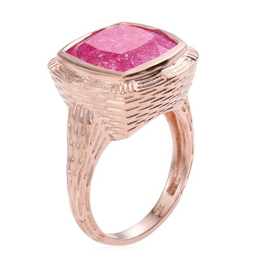 Hot Pink Crackled Quartz (Cush) Ring in Rose Gold Overlay Sterling Silver 10.750 Ct.