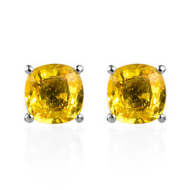 RHAPSODY 3.55 Ct AAAA Yellow Sapphire Solitaire Stud Earrings with Screw Back in 950 Platinum