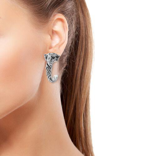 Kanchnaburi Blue Sapphire (Rnd) Elephant Head Half Hoop Earrings (With Push Back) in Stainless Steel