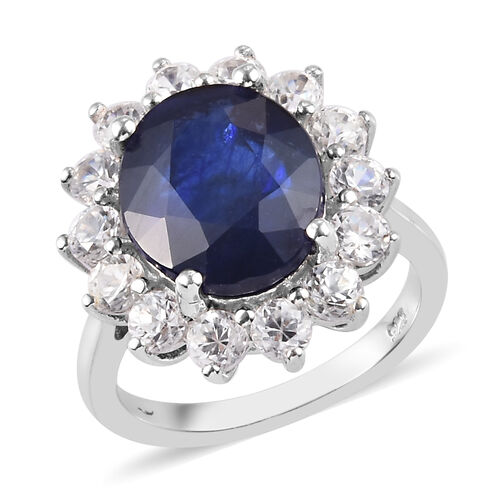 Masoala Sapphire and Natural Cambodian Zircon Ring (7.2ct Ovl) in Platinum Overlay Sterling Silver 9
