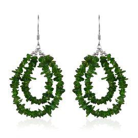 36 Carat Russian Diopside Hook Drop Earrings in Sterling Silver