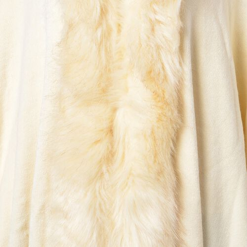 Designer Inspired - Cream Colour Jacket with Faux Fur Edge (One Size)