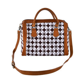 Genuine Leather Hand Crafted Batik Handbag with Detachable Shoulder Strap (Size 31x18x25 Cm) - White