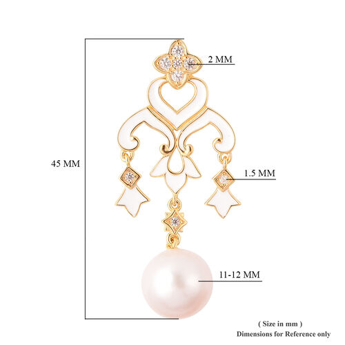Edison Pearl and Natural Cambodian Zircon Chandelier Enamelled Pendant in Yellow Gold Overlay Sterling Silver