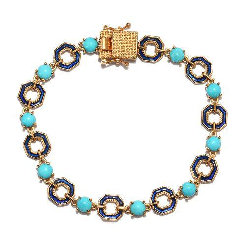GP - AA Arizona Sleeping Beauty Turquoise and Blue Sapphire Enamelled Bracelet (Size 7.5) in 14K Gol