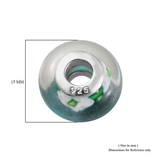 Charmes De Memoire Blue, Green and White Flower Murano Style Glass Bead Charm in Platinum Overlay Sterling Silver