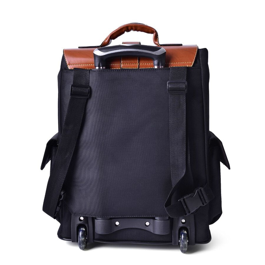 deluxe wheeled black backpack cabin size luggage size. Black Bedroom Furniture Sets. Home Design Ideas