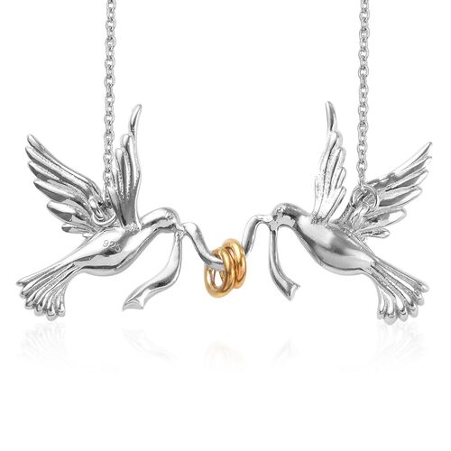 Platinum and Yellow Gold Overlay Sterling Silver Birds Necklace (Size 20), Silver wt 6.70 Gms.