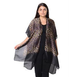 Yellow, Brown and Black Leopard Pattern Kimono (Size 83x90 Cm) - Black