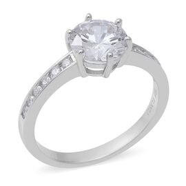 ELANZA Simulated Diamond Solitaire Ring in Rhodium Plated Sterling Silver