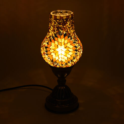 Handmade Turkish Brown and Multi Colour Glass Mosaic Table Lamp with Bronze Base (Size 28x10cm)