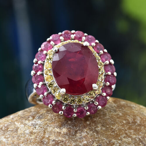 Limited Edition - Very Rare Size  African Ruby (Ovl) and Yellow Sapphire Ring in Platinum Overlay Sterling Silver 9.250 Ct