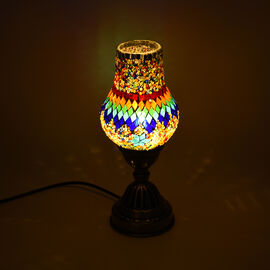 Handmade Turkish Blue & Multi Colour Glass Mosaic Table Lamp with Bronze Base (Size 28x10cm)
