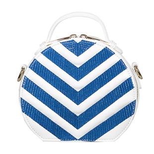 Bulaggi Collection - Zig Zag Circle Bag with Detachable Shoulder Strap (Size 17x15x7cm) - Cobalt Blu