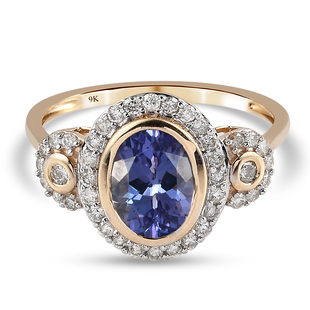 Midnight Special- 9K Yellow Gold Tanzanite and Diamond Ring 2.41 Ct.