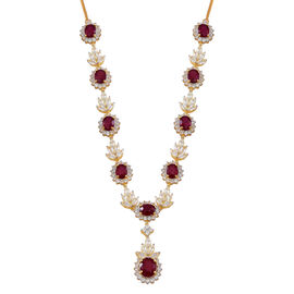 African Ruby (Ovl 4.91 Ct), White Topaz Necklace (Size 18) in 14K Gold Overlay Sterling Silver 50.000 Ct. Silver wt 33.00 Gms.