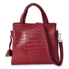 100% Genuine Leather Croc Embossed Tote Bag with Detachable Shoulder Strap (Size 28x25x11 Cm) - Wine